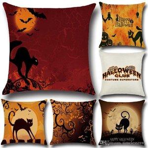 Halloween Spaventoso Cat federa Halloween Party decorazione della casa della copertura dell'ammortizzatore Buttare in lino misto cotone federa