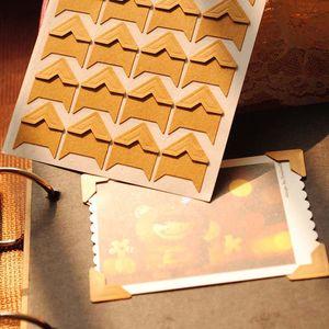 120pcs lot (5 sheets) Vintage Kraft Paper Corner Stickers for Scrapbooking Photo Albums Frame DIY Decoration, Gold White Black..