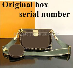 Bolsas para mujeres caja original Fecha código del monedero del bolso de embrague bolsa de mensajero del hombro del cuerpo cruz múltiples pochette