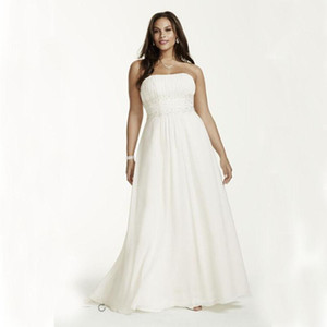 2020 New Plus Size Chiffon Empire-Taille Kleider mit Applikationen mit Perlen verziert Details Brautkleider Perlen verziert Sash Brautkleid 421