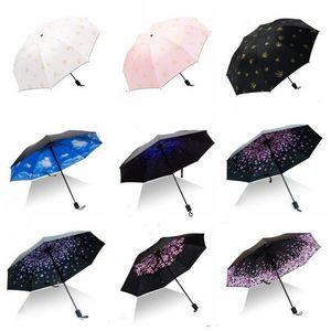 Impresión Parasol paraguas a prueba de viento grande plegable paraguas coloridos Tres plegado invertido flamenco 8Ribs suave regalo creativo LXL946