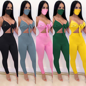 Womens sexy jumpsuits with face mask V neck sleeveless Lace-up leggings pants rompers Clubwear Onesies bodysuit Playsuits summer clothes