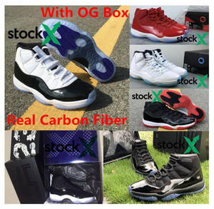 Top qualité réel en fibre de carbone avec OG Box 11 chaussures de basket-ball 2019 élevé 11s Gym Red Concordes 72-10 Prom Night Chaussures Hommes Haute