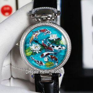 Neue Bovet 1822 Amadeo Fleurie 3D-Koi-Fisch-Lotus-Zifferblatt Schweizer Quarz Herren Damen Unisex Uhr Edelstahl Diamant Lünette Leder Strao Hello_Watch