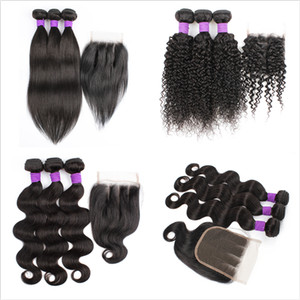 cheap un-remy Brazilian human hair extension 3 bundles with closure 200g set straight body jerry curly hair weft 3 part closure