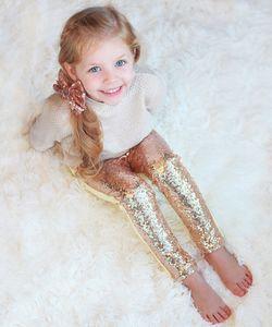 Girls Sequin Pants Rose Gold Sequin leggings Sparkle Pants Glitter leggings girl's sequin bottoms Y200704