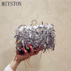 Sexy prata Evening Clutch Bag mulheres sacos de casamento brilhantes bolsas de noiva metal Bow Bag Embreagens cadeia ombro