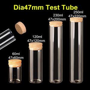 10 X Dia47mm Большие пробирки из чистого боросиликатного прозрачного стекла с пробками для пробок Пустые стеклянные прозрачные упаковочные бутылки