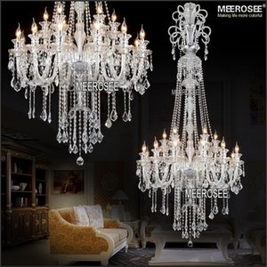 Modern Long Crystal Chandelier Light Fixture 12 lights Clear Crystal Stair Restaurant Hotel Pendant Lamp Prompt Shipping 100% Guanrantee