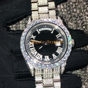 Mejor calidad total de diamante grande del reloj hacia fuera helado Reloj ETA 2836 automática de los 41MM de oro de los hombres de plata a prueba de agua de acero inoxidable 316 Conjunto de 4 diamantes