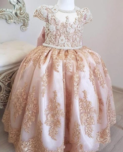 Blush Pink Princess Pearls Lace 2019 Flower Girl Dresses Short Sleeves Little Girl Wedding Guest Dresses Vintage Pageant Party Gowns BC2272