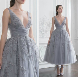 Paolo Sebastian Prom Dresses Lace Appliqued Rhinestones A Line Tea Length Evening Gowns Custom Made V Neck Cocktail Party Dress