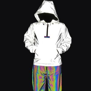Dropshipping New Reflective Jacket Men mit Kapuze Mantel der kühlen Hip Hop Jackets Night Glow Herren Jacken Street Jaqueta masculino