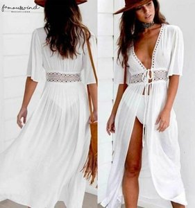 Sexy Ladies Women Solid White Bikini Cover Up Beach Dress Swimwear Beachwear Bathing Polyester Suit Summer Holiday Kimono Cardigan