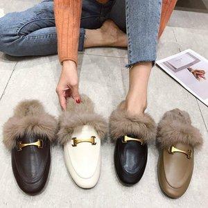 Lurad Comoda peluche Diapositives Fluffy Cat chaussons femmes plat Slip Marque Designers luxe Rivet T -Strap Diapositives Mocassins mignon en peluche