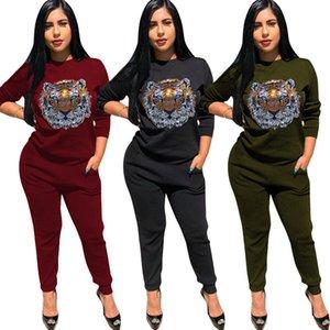 Rhinestone Tiger Голова женщины Tracksuit с длинным рукавом толстовки Толстовка + штаны Леггинсы Два кусочка Установить Весна O-шеи Наряды моды Sweatsuit