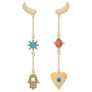 Swa Ro 2019 New Lucky Goddess percé boucles d'oreilles femmes Original Brillant Asymétrique Ailes Cristal De Luxe Pop Bijoux Cadeau Y19052401