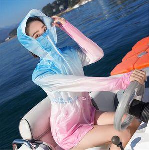 Femmes de protection solaire Manteau de dégradé de couleur respirant UV résistant Veste légère vêtement Poids