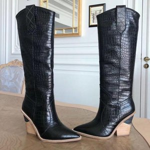 MStacchi Brand Embossed Runway Shoes Woman Knee High Boots Pointed Toe Western Cowboy Boots Chunky Wedge Slip On Snakeskin