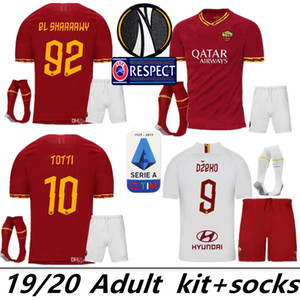 2019 2020 AS roma Home away futbol Formalar kitleri 19 20 DZEKO TOTTI roma Camisetas futbol Gömlek Kiti De Rossi Veda maç üniforma S-2XL