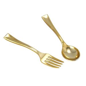 144pcs de plástico descartáveis ouro colheres e 72pcs para o partido Mini ouro do café Sobremesa Bolo Forks Fit Evento