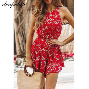 Dropship Rompers женщин комбинезона Romper Женщины Комбинезоны неоновые шорты 2019 Sexy Bodycon Summer Backless Печать BOHO рукавов