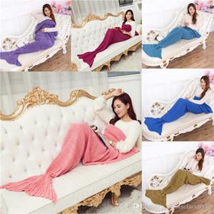Adultos Crochet da sereia da cauda Cobertores Mulheres malha Sofá Blanket Sereia do sono Bolsas 195 x 95 cm