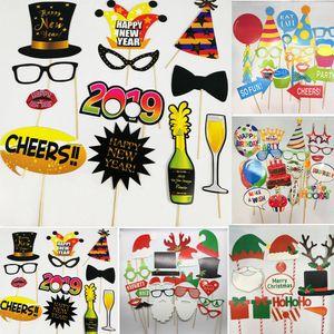 Navidad Año Nuevo Photobooth Puntales en una fiesta de Navidad de la boda del bigote palillo de la diversión del juego de bricolaje Sticks accesorios decorativos