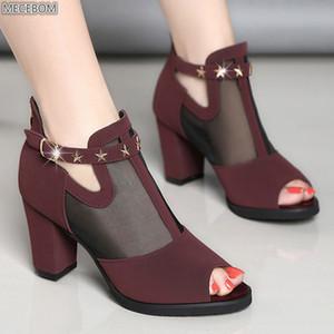 Women Pumps High Thick Black Heels Ladies Shoes Rivet Mesh Zipper Open Toe Casual Party Wedding Platform Chunky Sandal 129W Y200702