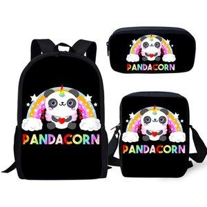 Okul Çantası 3pcs / set öğrenciler Sevimli Panda Unicorn Sırt Çantası İçin Erkekler Kızlar Çocuk gizli sakli konusmalar Bebek Karikatür Sırt Çantası Sırt Çantası Dropship