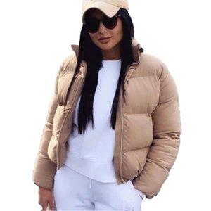 Mujeres Winter corto Parkas Moda Chaqueta de Down algodón de la capa Negro Sólido estándar collar de la burbuja 2019 otoño femeninos Puffer Jackets