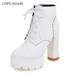 CDPUNDARI Ankle boots for women Super High heels Platform boots Ladies shoes woman