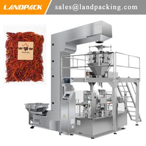 Automatic Dried Chili Big Zipper Bag Rotary Packaging Machine Matching Multihead Weigher