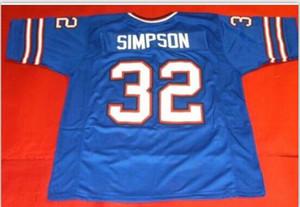 Benutzerdefinierte Männer Jugend Frauen Vintage-CUSTOM BLUE OJ SIMPSON Vorderseite und f Fußball-Jersey-Größe S-4XL Netzkappe oder benutzerdefinierten beliebigen Namen oder die Nummer Jersey
