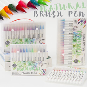 Creative High Quality 12 24 36 48 Colors Water Based Dye Ink Art Marker White Barrel Soft Watercolor Brush Pen For Drawing Manga