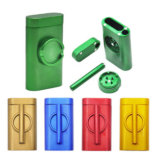 2020 New Smoking set metal pipe aluminum cigarette case storage box portable with grinder Metal Dugout