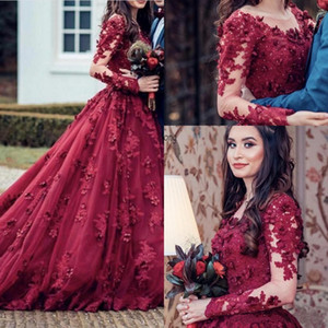 Burgundy Jewel Sheer Neck A Line Prom Dresses 2020 Dubai Arabic Long Sleeves Beaded Lace Appliques 3D Flowers Party Evening Gowns AL6523
