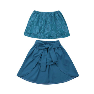 Enfants Baby Girl Floral Lace Tube Top + Jupe + Shorts Outfit 1-6Y 3pcs