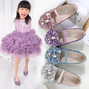 Princess Kids Leather Shoes For Girls Flower Casual Glitter Children Girls Shoes Butterfly Knot Blue Pink Silver