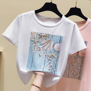 Pink Summer T shirt Women Tops White Tshirt Women Korean Clothes Short Sleeve Casual Purple Sequins Diamond Tee shirt Femme