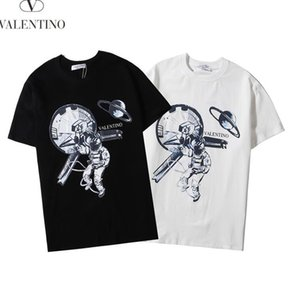 Spring and summer 2020 new high-grade cotton digital direct spray printing short sleeve round neck splicing T-shirt black and white men&#039
