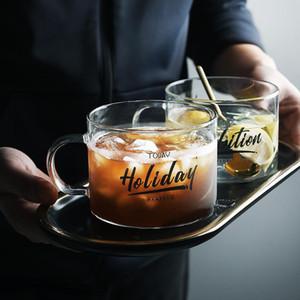 Succo di frutta in vetro tazza creativa Lettera Latte Acqua Black Cup placcato oro maniglia Drinkware amanti paio di cristallo trasparente Tazze da regalo