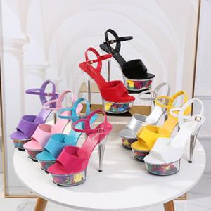 2020 Женские сандалии Walking Show Model Summer Sexy прозрачный цветок высокие каблуки 14,5 см Женская обувь на платформе вечерние свадебные туфли