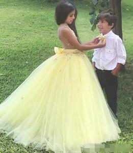 Carino luce giallo campagna 2021 ragazze di fiori Abiti per abito da sposa abito tulle Vedi attraverso designer Long Bambina First Communione Dress