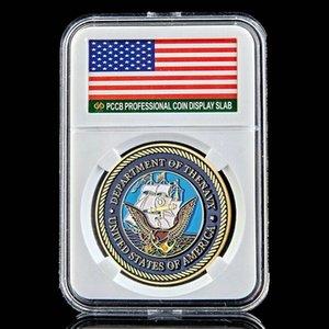 Военный вызов монет Департамент США Navy армии 1 унция Позолоченные монет W / PCCB Box
