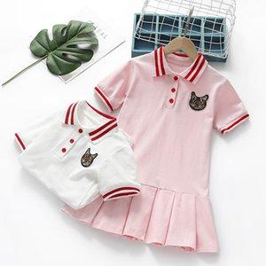 New Girls Dress Summer Toddler Kids Cotton Sport Pleated Dresses Lovely Children Clothes Girls Turn-down Collar Tennis Costume