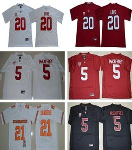 2018 2019 NCAA Stanford Cardinals # 20 Bryce Amore Jersey Bianco Rosso In casa Fuori casa cucito Mens # 5 Christian McCaffrey College Football Jerseys