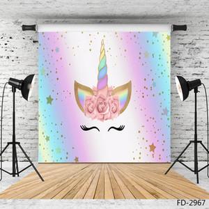 Fotografia Unicorn pequenas estrelas dos desenhos animados backdrop Vinyl Photobooth para o chuveiro crianças bebê Photocall Fond Foto