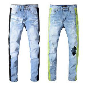 Pantalones zapatillas de deporte al por mayor de MIRI tejanos de diseño 350 pantalones rectos del motorista flaco Loophole Jeans Hombres Mujeres vaqueros del agujero