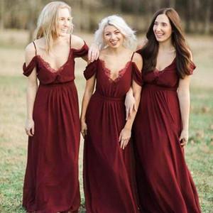 2021 Спагетти кружева верхние подружки длинные подружки невесты платья подвесных поездов Индивидуальные Vestidos de Bridemaid честь горничных дешевых официальных платьев